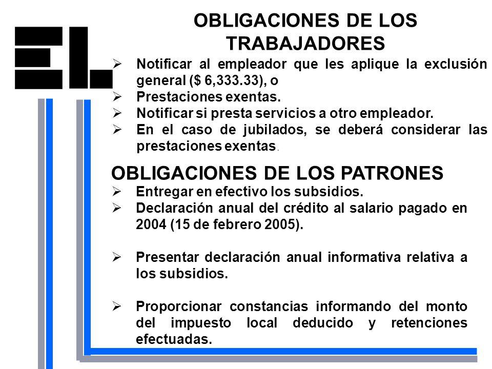 OBLIGACIONES DE LOS TRABAJADORES OBLIGACIONES DE LOS PATRONES