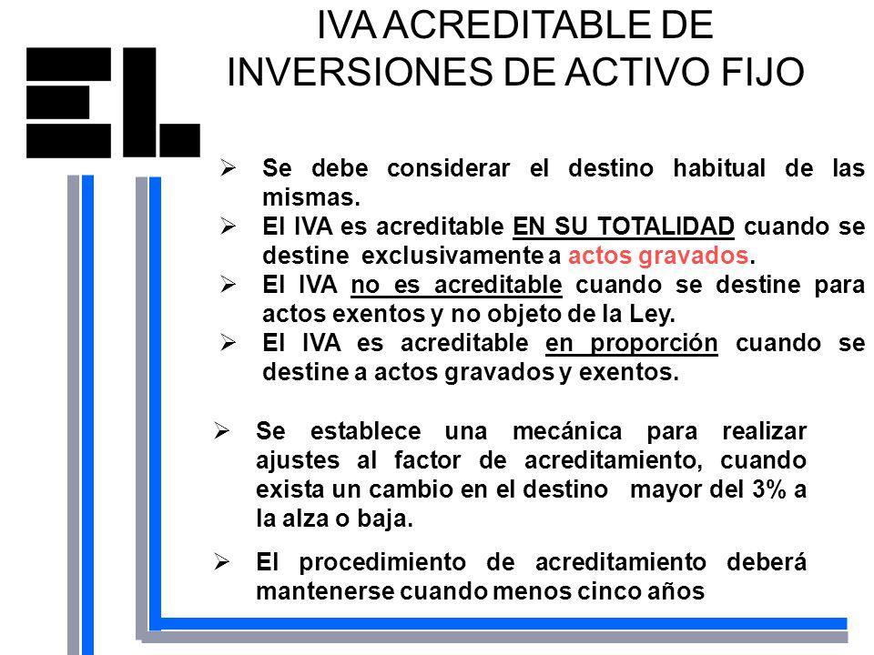 IVA ACREDITABLE DE INVERSIONES DE ACTIVO FIJO