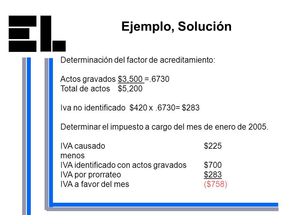 Ejemplo, Solución Determinación del factor de acreditamiento:
