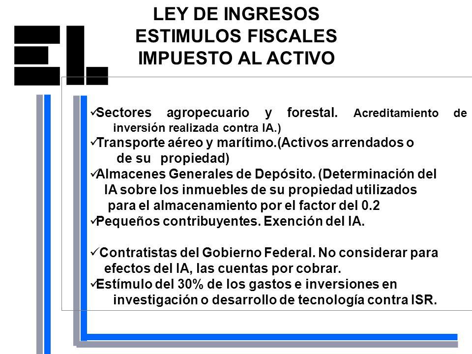 LEY DE INGRESOS ESTIMULOS FISCALES IMPUESTO AL ACTIVO