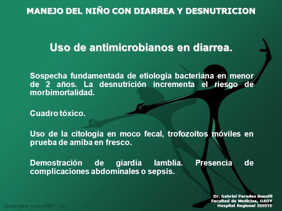 Uso de antimicrobianos en diarrea.