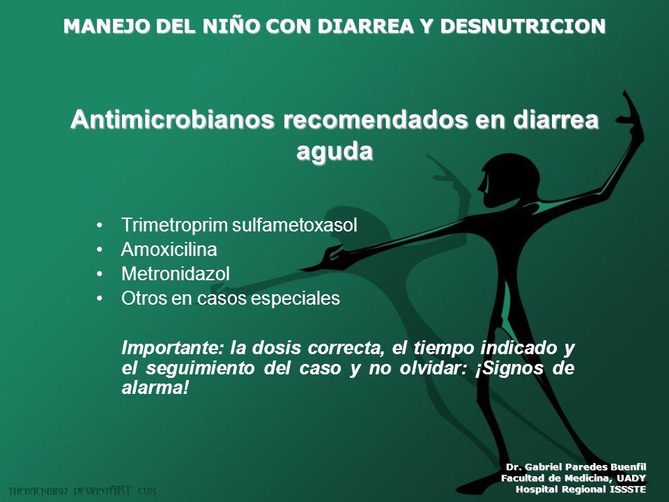 Antimicrobianos recomendados en diarrea aguda