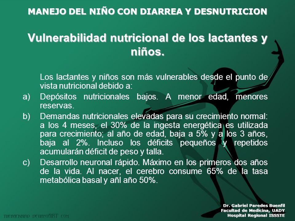 Vulnerabilidad nutricional de los lactantes y niños.