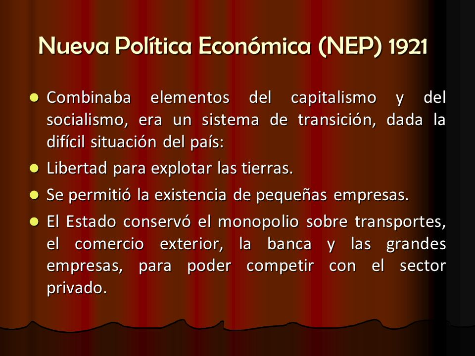 Nueva Política Económica (NEP) 1921