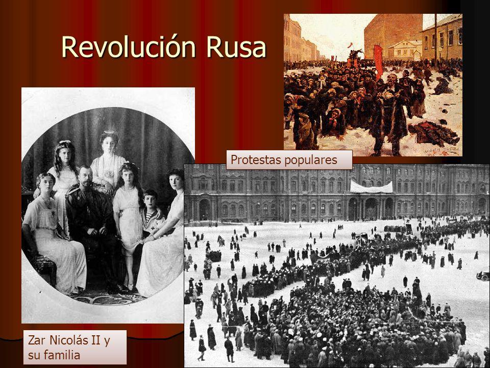 Revolución Rusa Protestas populares Zar Nicolás II y su familia