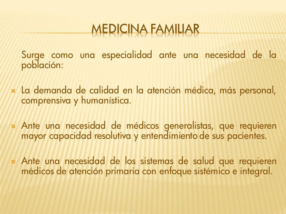 Medicina familiar Surge como una especialidad ante una necesidad de la población: