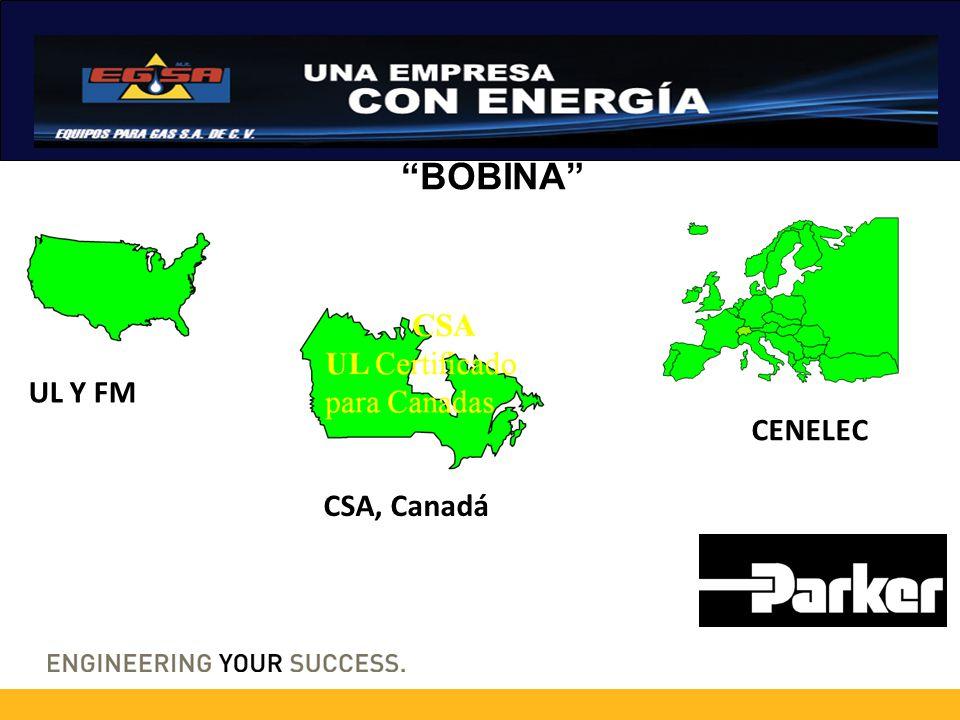 BOBINA UL Y FM CENELEC CSA, Canadá