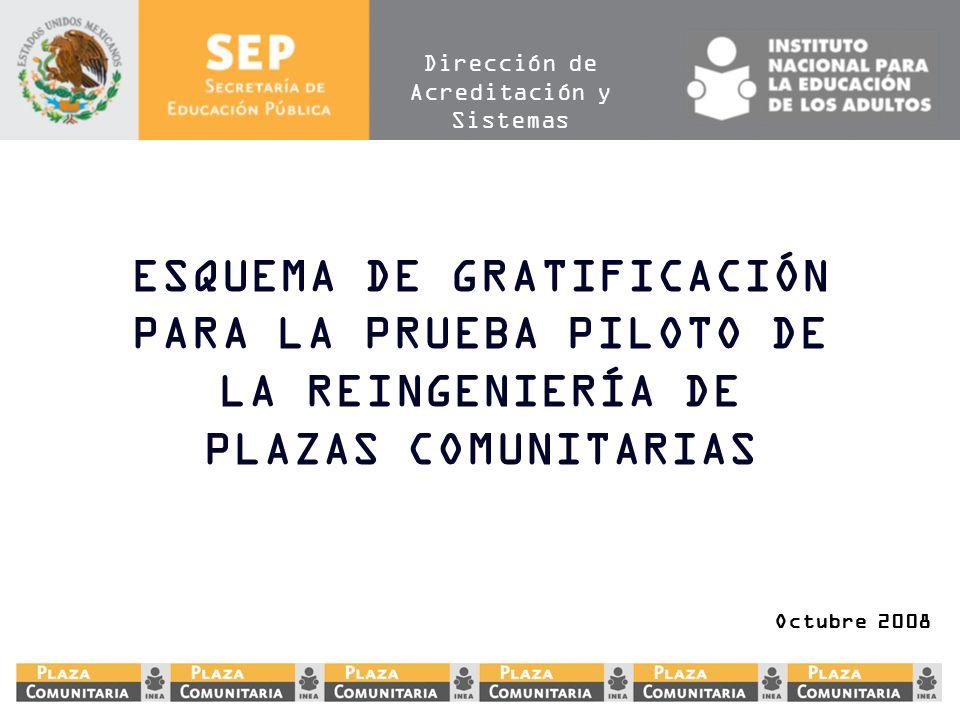 ESQUEMA DE GRATIFICACIÓN PARA LA PRUEBA PILOTO DE LA REINGENIERÍA DE PLAZAS COMUNITARIAS