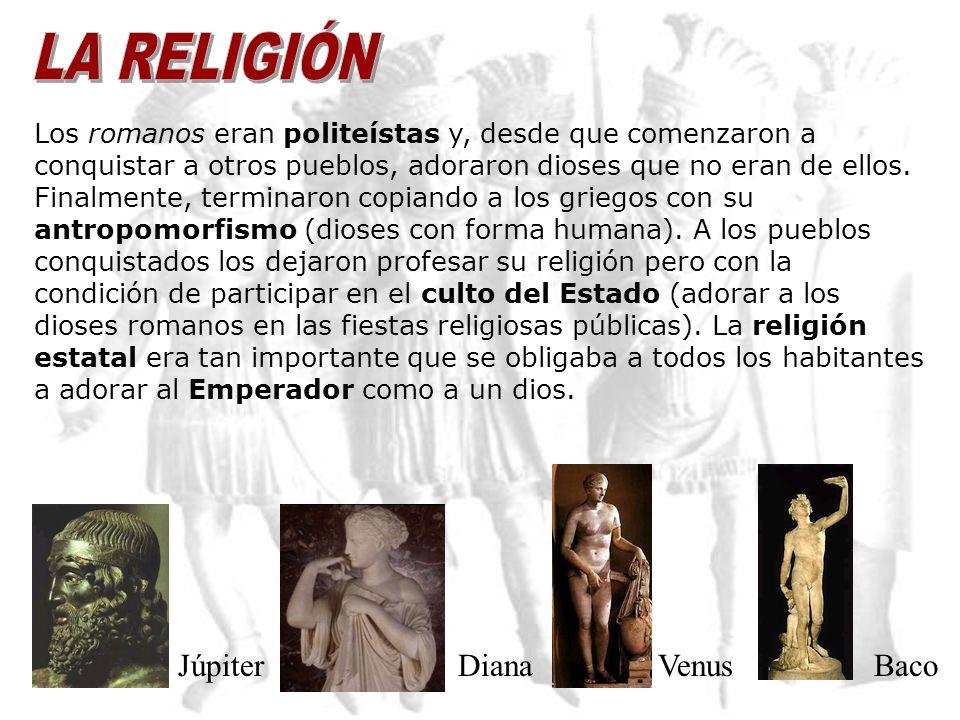 LA RELIGIÓN Júpiter Diana Venus Baco