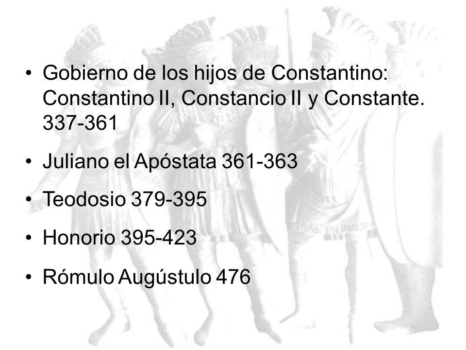Gobierno de los hijos de Constantino: Constantino II, Constancio II y Constante. 337-361