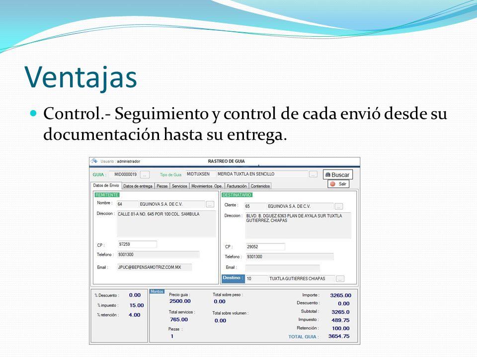 Ventajas Control.- Seguimiento y control de cada envió desde su documentación hasta su entrega.