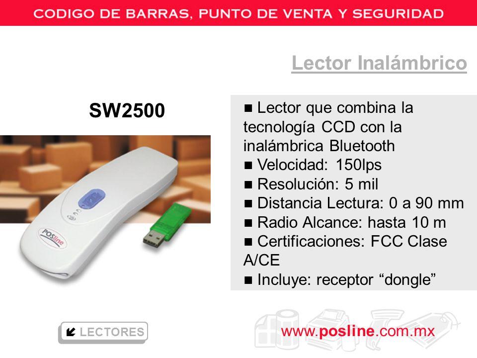 Lector Inalámbrico SW2500. Lector que combina la tecnología CCD con la inalámbrica Bluetooth. Velocidad: 150lps.