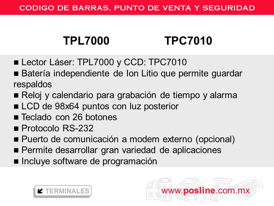 TPL7000 TPC7010 Lector Láser: TPL7000 y CCD: TPC7010