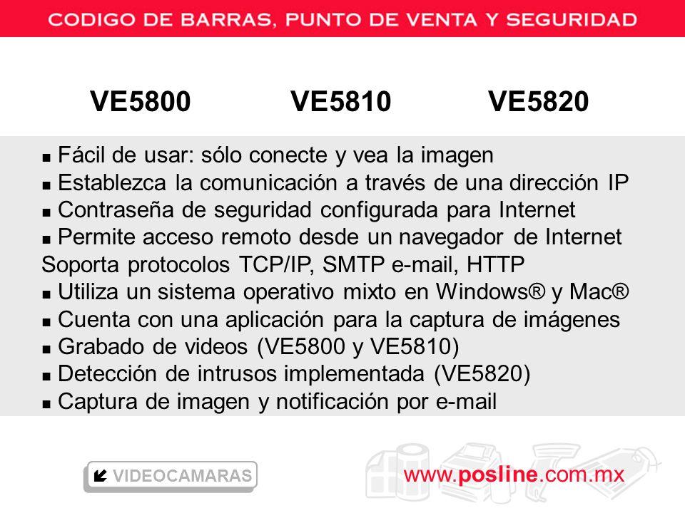 VE5800 VE5810 VE5820 Fácil de usar: sólo conecte y vea la imagen
