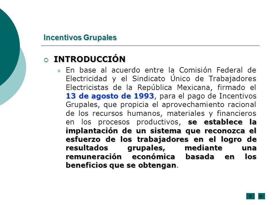 INTRODUCCIÓN Incentivos Grupales