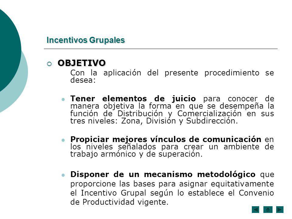 OBJETIVO Incentivos Grupales