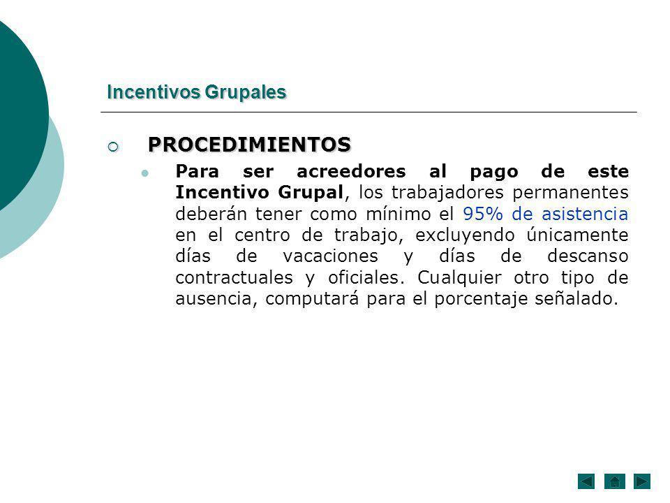PROCEDIMIENTOS Incentivos Grupales