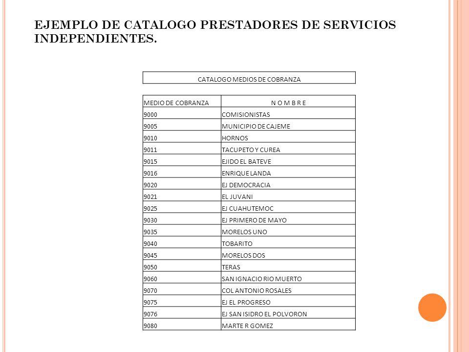 CATALOGO MEDIOS DE COBRANZA