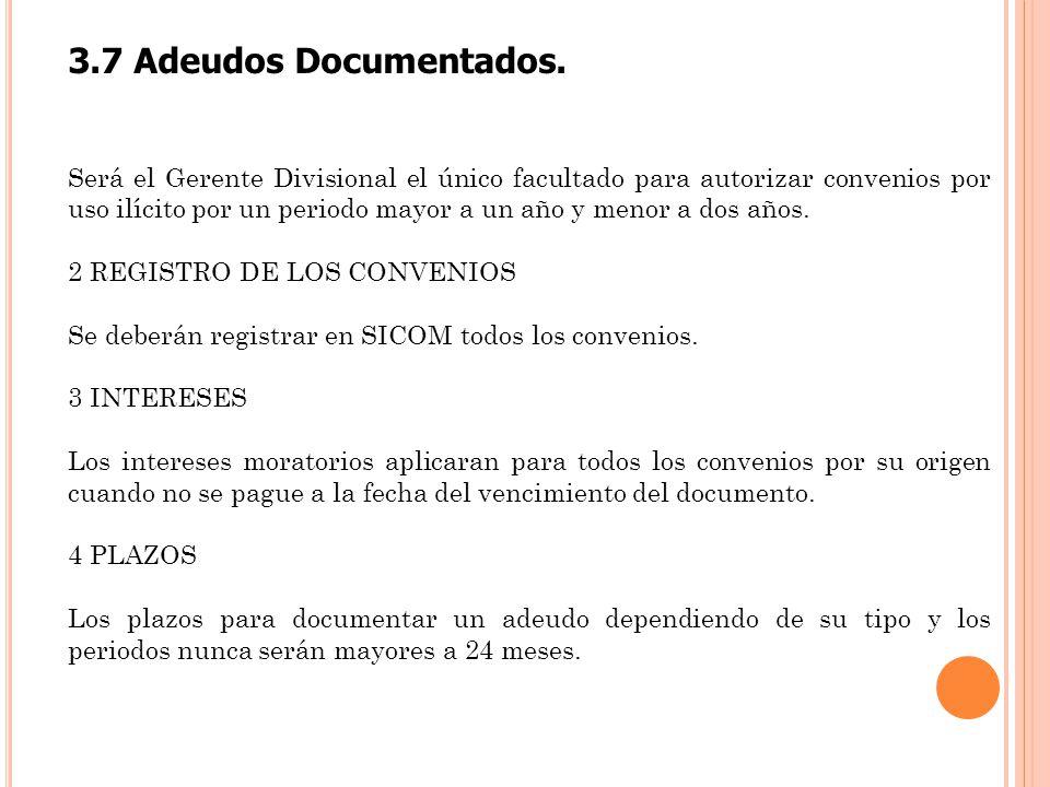 3.7 Adeudos Documentados.