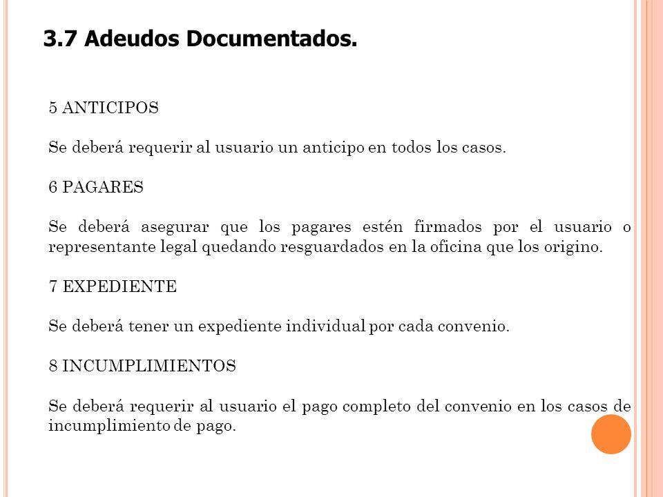 3.7 Adeudos Documentados. 5 ANTICIPOS