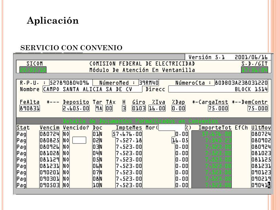 Aplicación SERVICIO CON CONVENIO