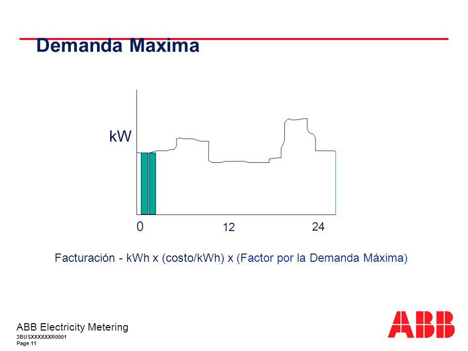 Demanda Maxima 12 24 kW Facturación - kWh x (costo/kWh) x (Factor por la Demanda Máxima)