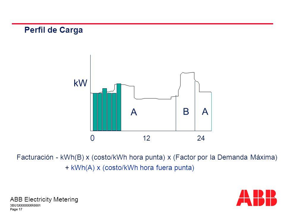 Perfil de Carga 12. 24. kW. B. A. Facturación - kWh(B) x (costo/kWh hora punta) x (Factor por la Demanda Máxima)