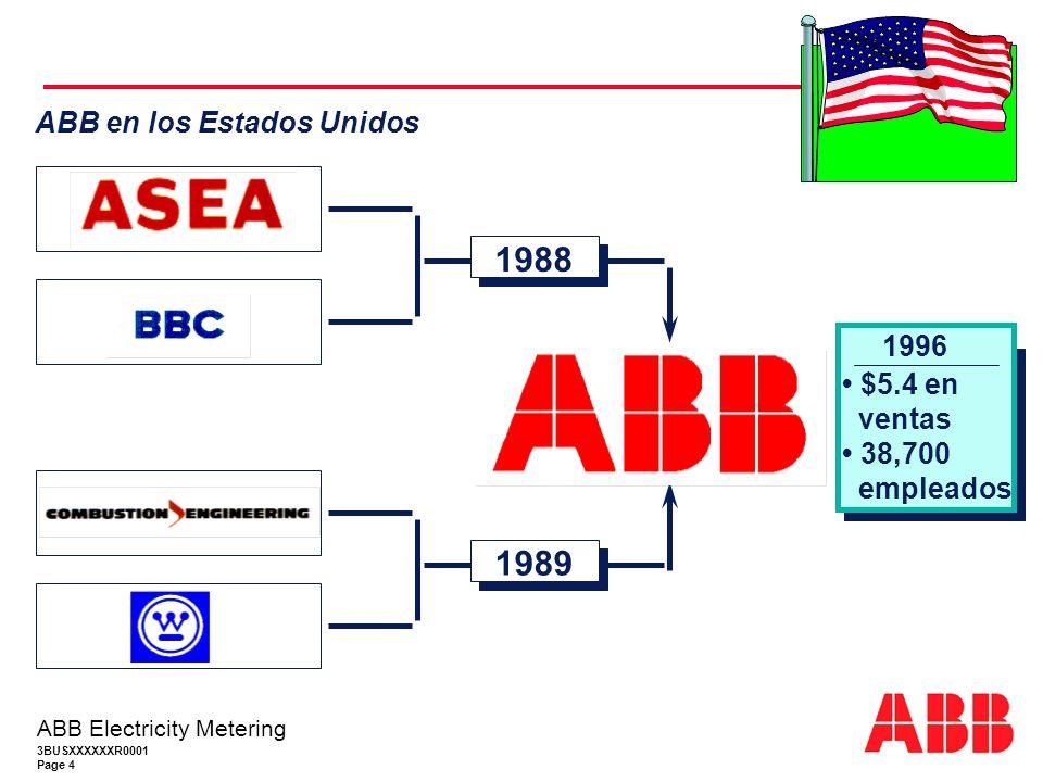 1988 1989 ABB en los Estados Unidos 1996 • $5.4 en ventas • 38,700