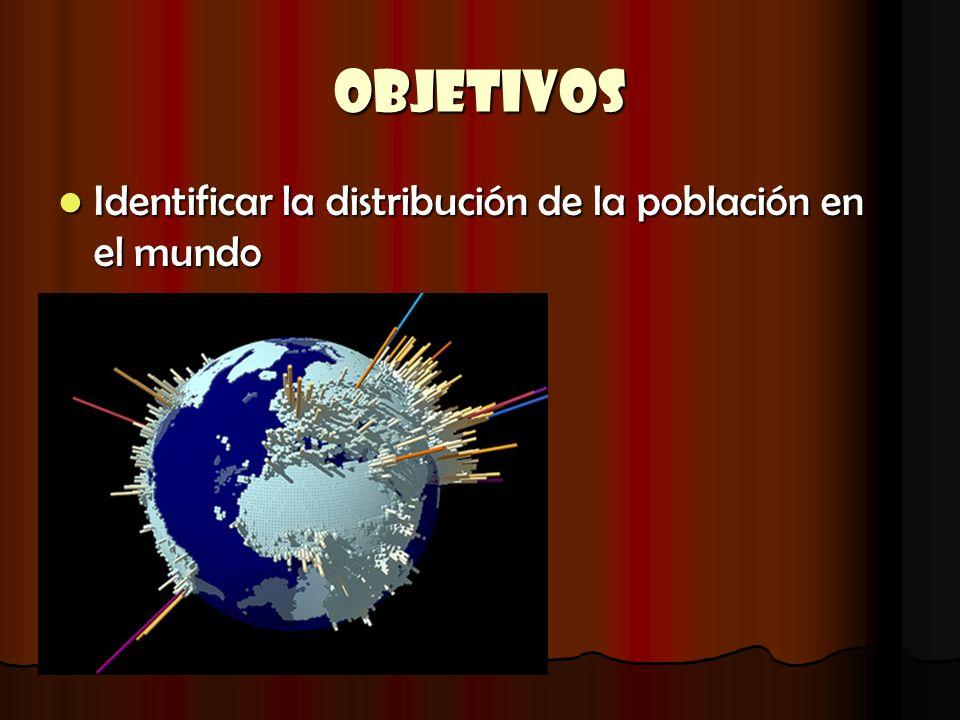 OBJETIVOS Identificar la distribución de la población en el mundo