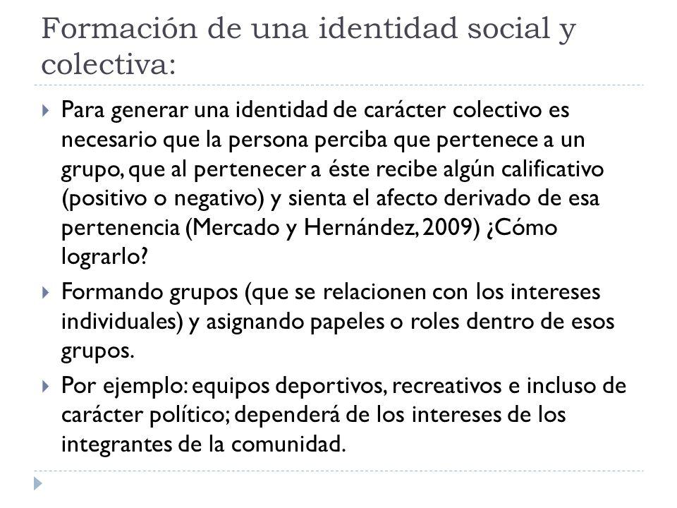 Formación de una identidad social y colectiva: