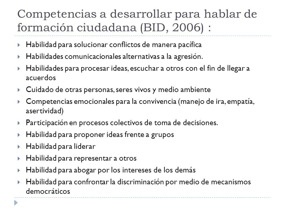 Competencias a desarrollar para hablar de formación ciudadana (BID, 2006) :