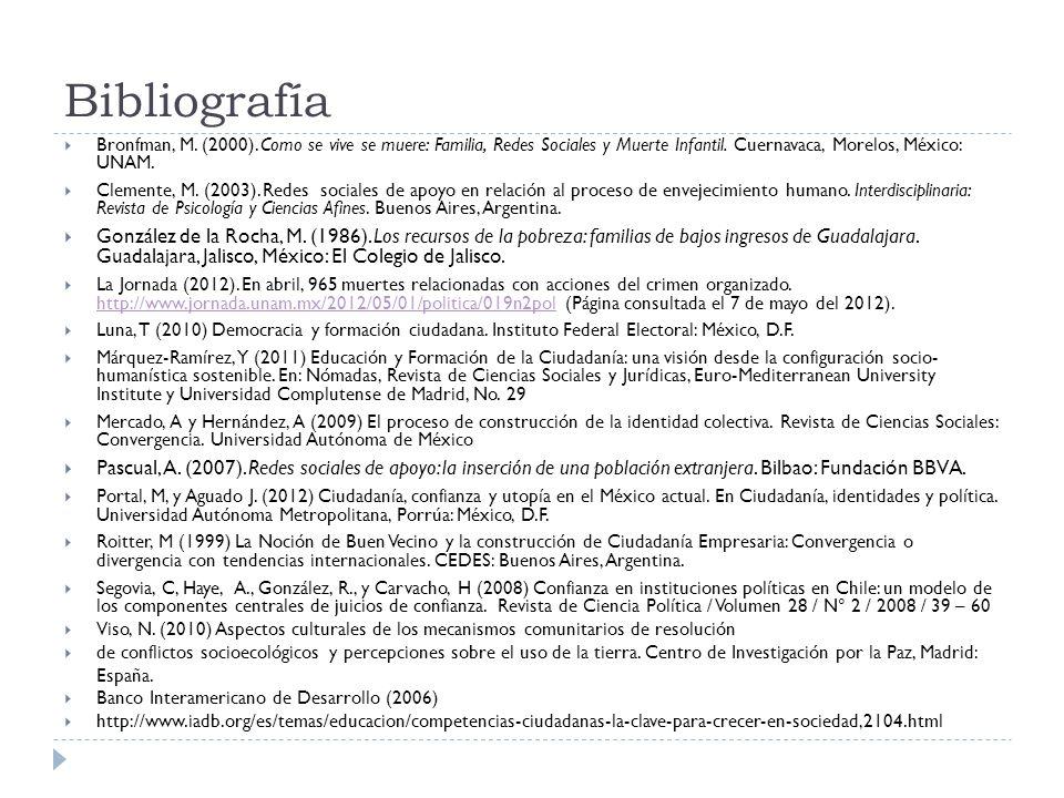 Bibliografía Bronfman, M. (2000). Como se vive se muere: Familia, Redes Sociales y Muerte Infantil. Cuernavaca, Morelos, México: UNAM.