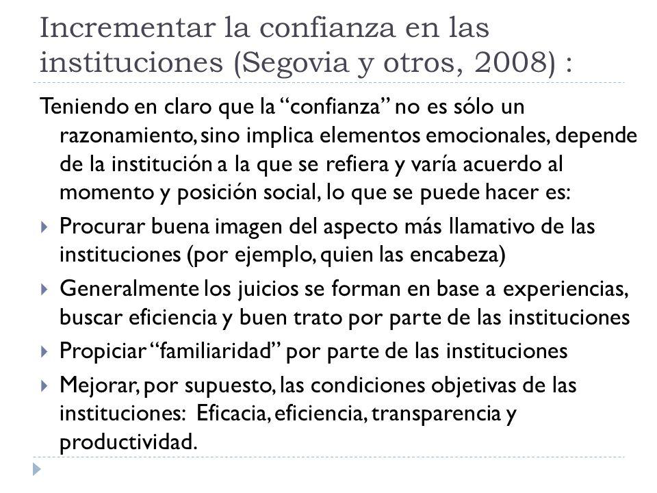 Incrementar la confianza en las instituciones (Segovia y otros, 2008) :
