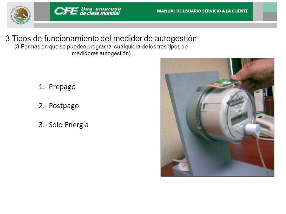 3 Tipos de funcionamiento del medidor de autogestión