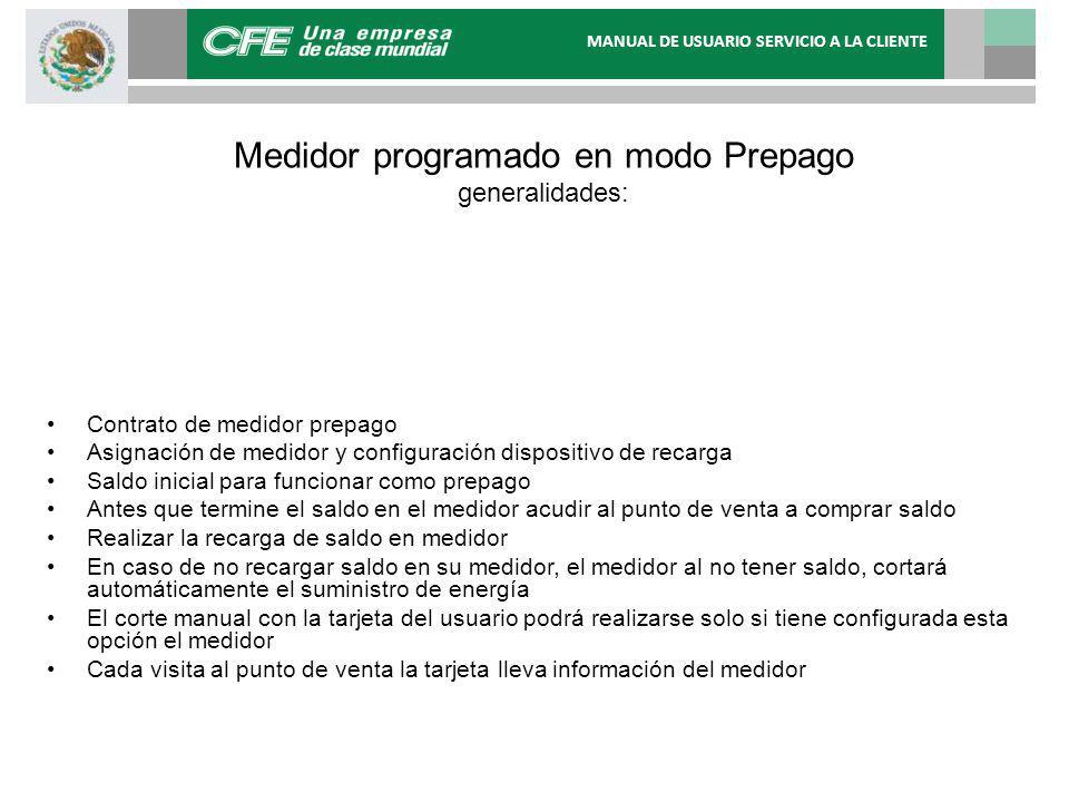 Medidor programado en modo Prepago generalidades: