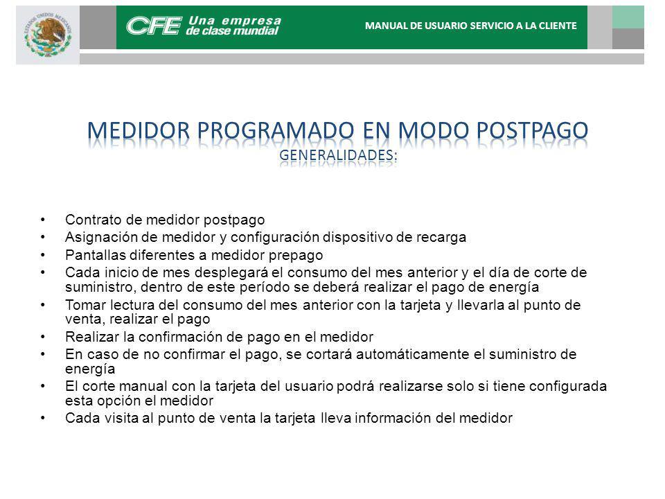 Medidor programado en modo Postpago generalidades: