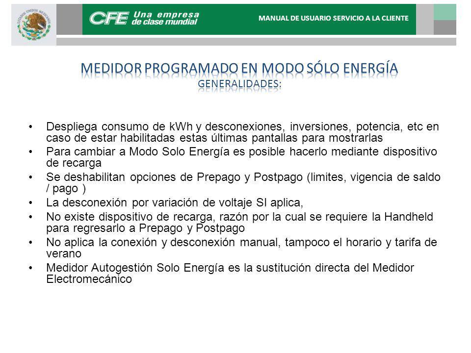 Medidor programado en modo sólo energía generalidades: