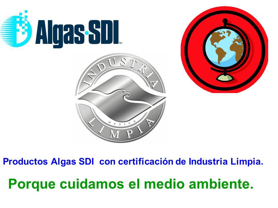 Productos Algas SDI con certificación de Industria Limpia.