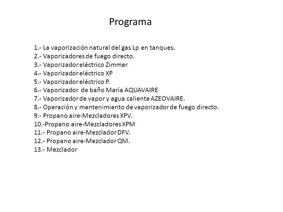 Programa 1.- La vaporización natural del gas Lp en tanques.