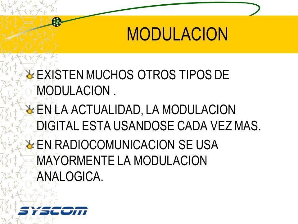 MODULACION EXISTEN MUCHOS OTROS TIPOS DE MODULACION .