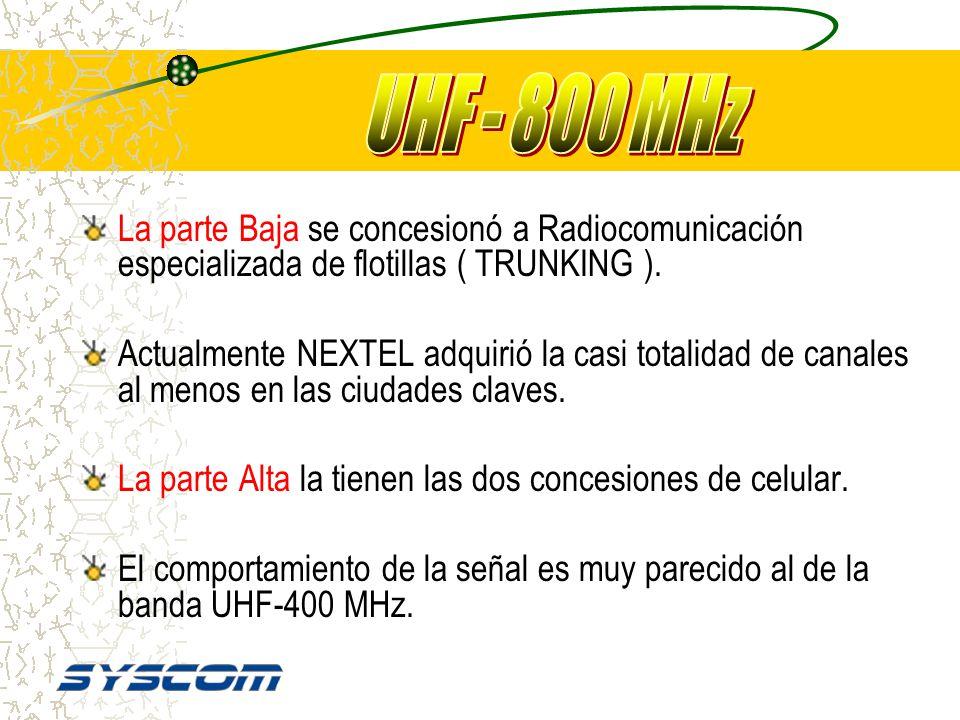 UHF - 800 MHz La parte Baja se concesionó a Radiocomunicación especializada de flotillas ( TRUNKING ).