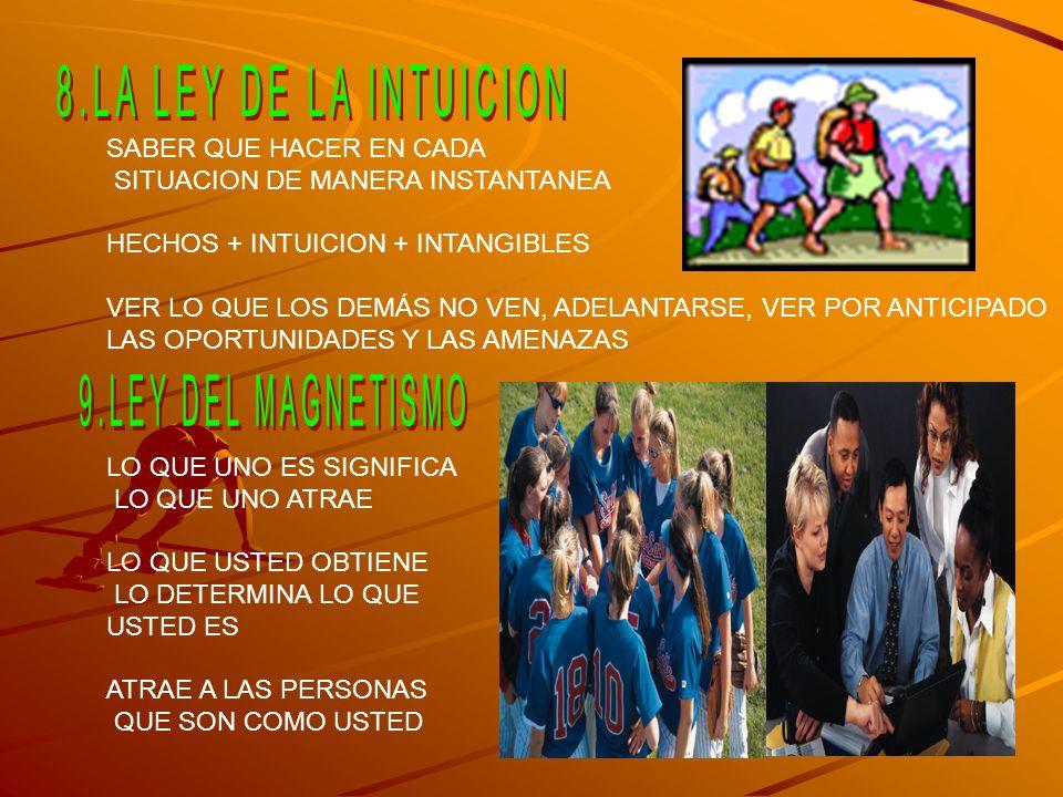 8.LA LEY DE LA INTUICION 9.LEY DEL MAGNETISMO SABER QUE HACER EN CADA
