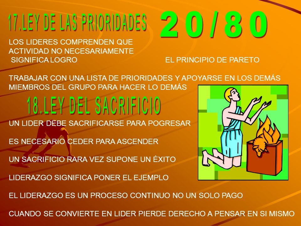 20/80 17.LEY DE LAS PRIORIDADES 18.LEY DEL SACRIFICIO