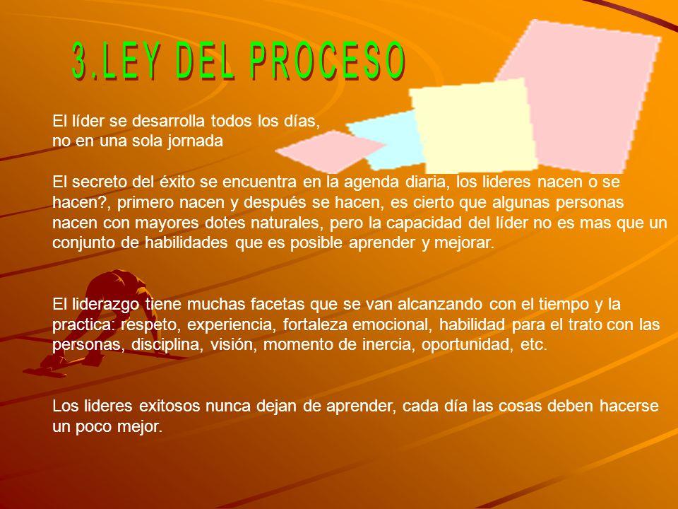 3.LEY DEL PROCESO El líder se desarrolla todos los días,