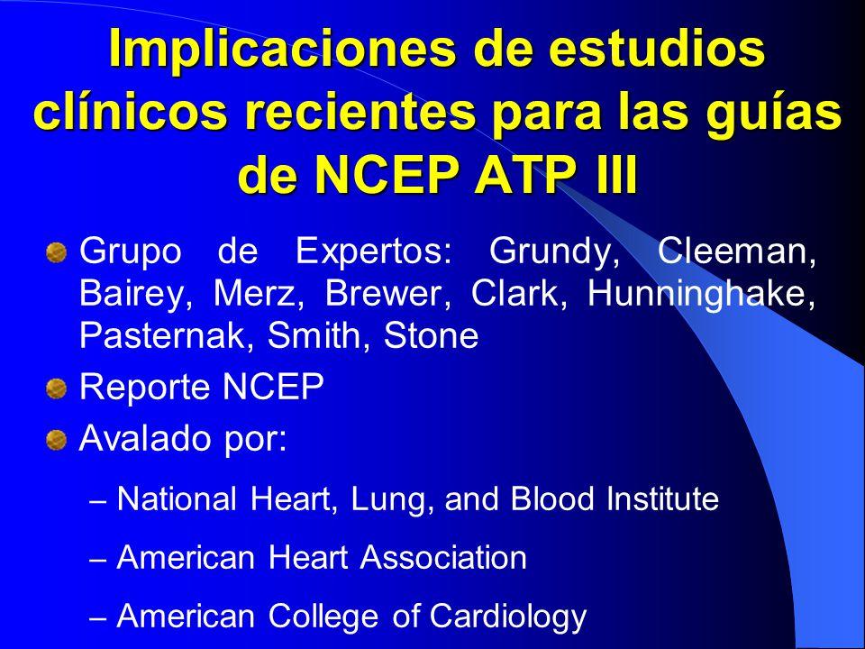 Implicaciones de estudios clínicos recientes para las guías de NCEP ATP III