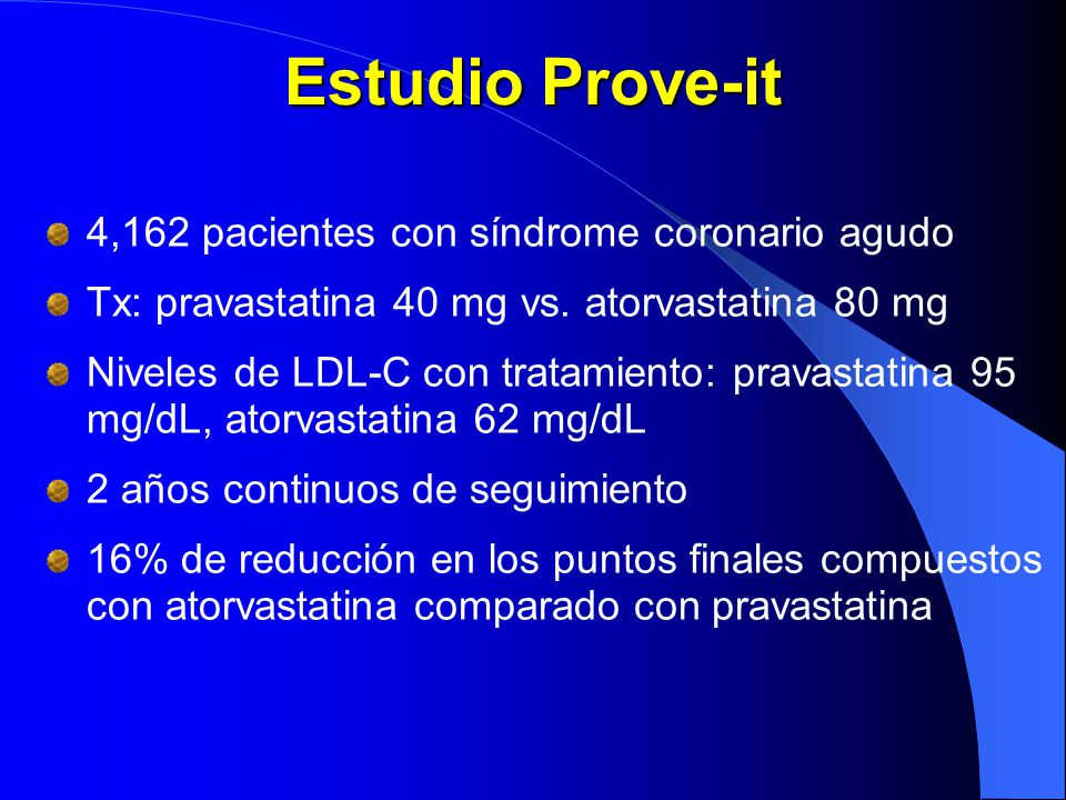 Estudio Prove-it 4,162 pacientes con síndrome coronario agudo