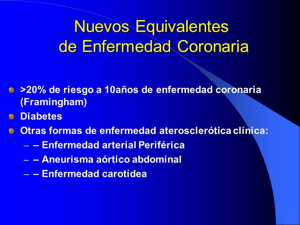 Nuevos Equivalentes de Enfermedad Coronaria