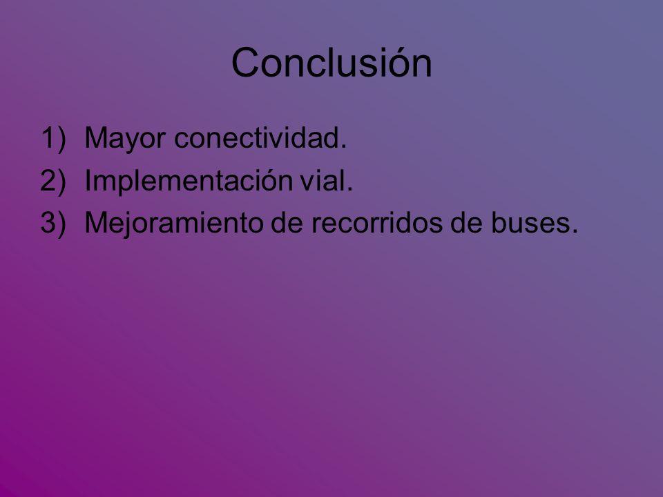 Conclusión Mayor conectividad. Implementación vial.