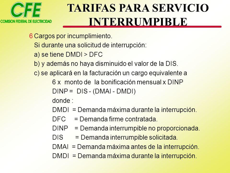 TARIFAS PARA SERVICIO INTERRUMPIBLE