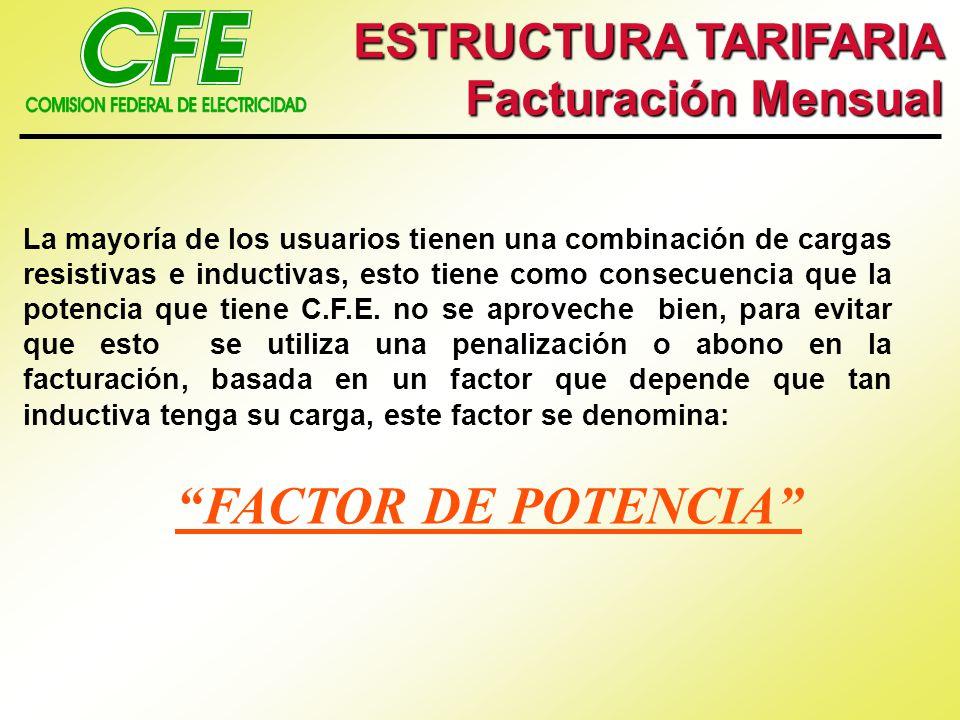 FACTOR DE POTENCIA ESTRUCTURA TARIFARIA Facturación Mensual